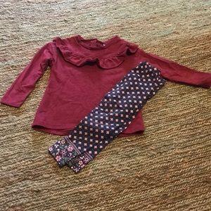 Carters burgundy ruffle sweater w/ floral leggings